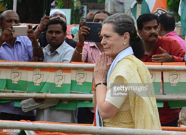 Congress Party's leader and president Sonia gandhi returns after offering floral tribute to the statue of Bhimrao Ambedkar before her Road show in...