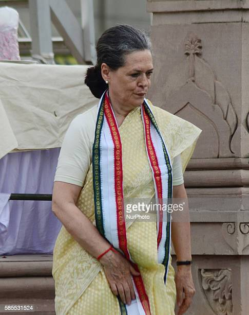 Congress Party's leader and president Sonia gandhireturns after offering floral tribute to the statue of Bhimrao Ambedkar before her Road show in...