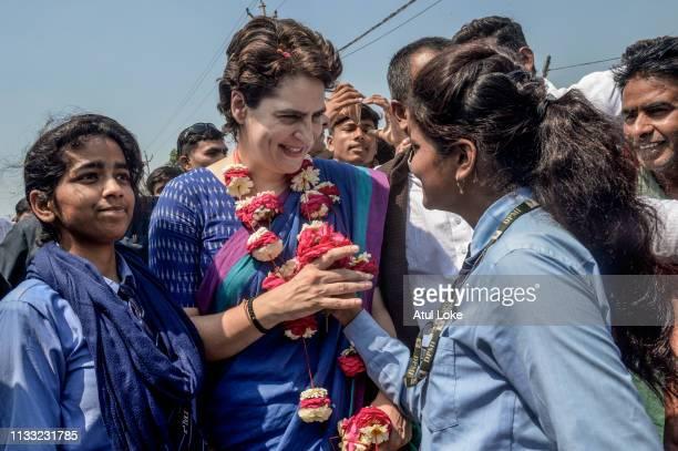 Congress Party's Priyanka Gandhi campaigns on March 27 2019 in Uttar Pradesh India Congress leader Priyanka Gandhi Vadra the sister of Rahul Gandhi...