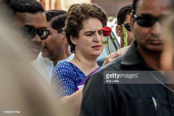 Congress Party's Priyanka Gandhi campaigns on March 27, 2019 in Uttar Pradesh, India. Congress leader Priyanka Gandhi Vadra, the sister of Rahul...
