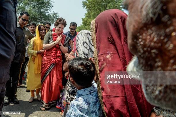 Congress Party's Priyanka Gandhi campaigns on the road for for India National Congress on March 29 2019 in Utter Pradesh India Congress leader...