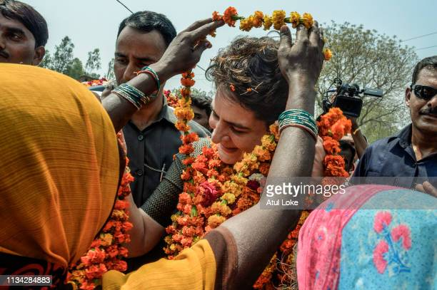 Congress Party's Priyanka Gandhi campaigns on the road for for India National Congress on March 29, 2019 in Utter Pradesh, India. Congress leader...