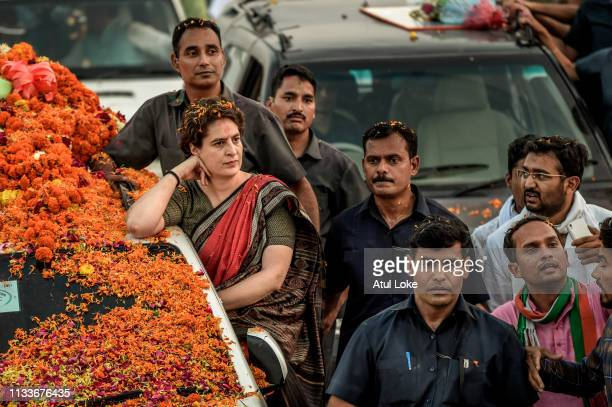 Congress Party's Priyanka Gandhi does road show during her Campaigns on March 29, 2019 in Ayodhya, Utter Pradesh, India. Congress leader Priyanka...