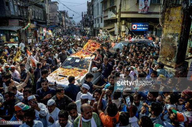 Congress Party's Priyanka Gandhi does road show during her Campaigns on March 29 2019 in Ayodhya Utter Pradesh India Congress leader Priyanka Gandhi...