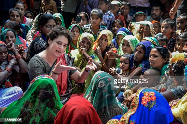 Congress Party's Priyanka Gandhi talks to womens in village during her Campaigns on March 29, 2019 in Utter Pradesh, India. Congress leader Priyanka...