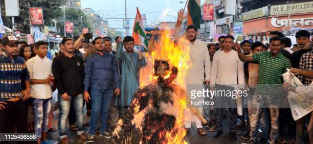 Congress Political Party worker brun Pakistan Prime Minister Imran Khan effegy and protest against recently terrorist attack at Pulwama on February...