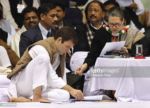 Congress President and UPA Chairperson Sonia Gandhi and Congress vice president Rahul Gandhi and other leaders during All India Congress Committee...