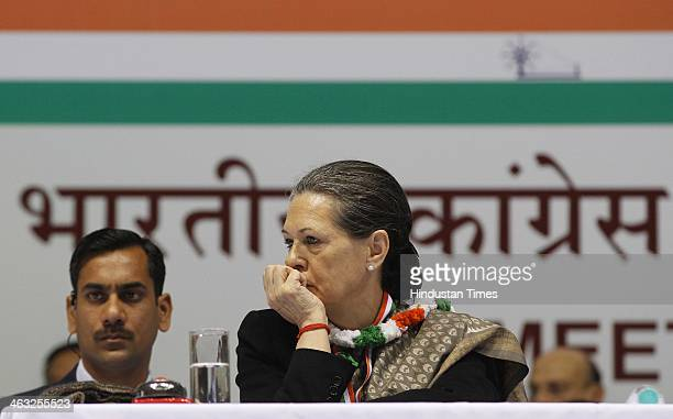 Congress President and UPA Chairperson Sonia Gandhi during All India Congress Committee meet at Talkatora stadium on January 17 2014 in New Delhi...