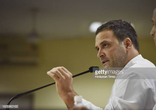 Congress President Rahul Gandhi addresses a press conference on demonetisation and Rafale Deal at AICC headquarters Akbar Road on August 30 2018 in...