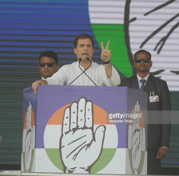 Congress President Rahul Gandhi addresses during the 'Jan Akanksha Rally' at Gandhi Maidan on February 3 2019 in Patna India Rahul Gandhi said the...