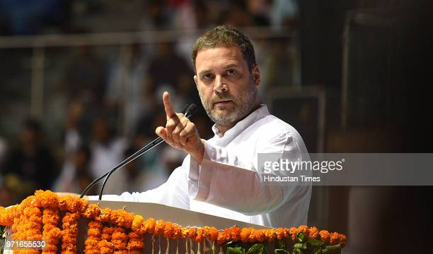 Congress President Rahul Gandhi addresses the national convention of Other Backward Classes department of AICC at Talkatora Stadium on June 11 2018...