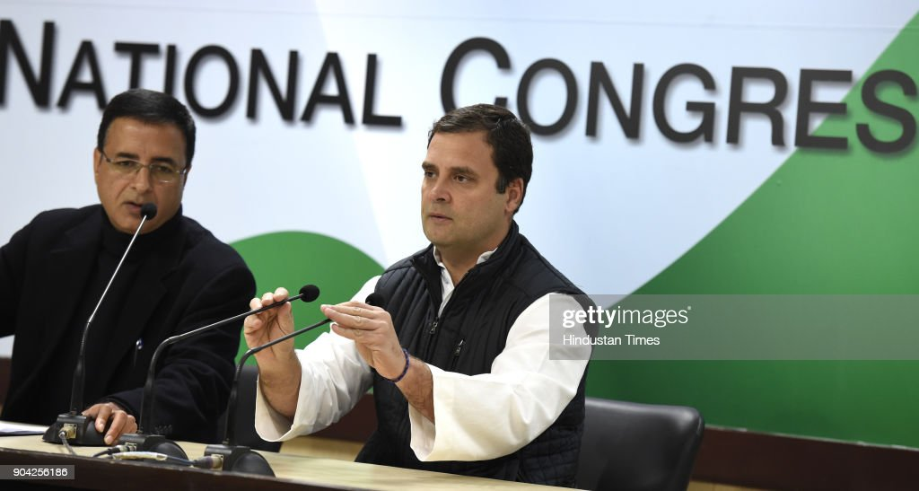 Congress president Rahul Gandhi addressing press conference on the allegations of irregularities within the Supreme Court at AICC on January 12, 2018 in New Delhi, India. Congress president Rahul Gandhi said that allegations of irregularities within the Supreme Court made by four senior judges at a press conference earlier in the day were important to address. Four senior Supreme Court judges Justice Jasti Chelameswar, Justice Ranjan Gogoi, Justice Madan Lokur and Justice Kurian Joseph earlier today addressed a press conference to express their grievances against the Chief Justice of India (CJI) Dipak Misra and how he was assigning cases.