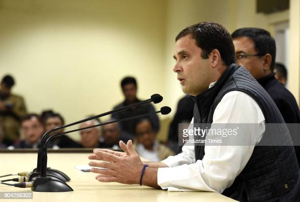 Congress president Rahul Gandhi addressing press conference on the allegations of irregularities within the Supreme Court at AICC on January 12 2018...