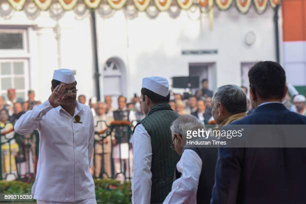 Congress President Rahul Gandhi along with other congress leaders during 133rd Foundation Day of the Indian National Congress at All India Congress...