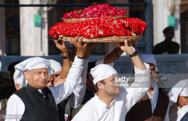 Congress President Rahul Gandhi and former CM of Rajasthan Ashok Gehlot during their visit to Ajmer Sharif Dargah on November 26 2018 in Ajmer India