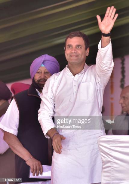 Congress President Rahul Gandhi and Punjab chief minister Amarinder Singh seen ahead of the Lok Sabha election rally on March 7 2019 in Moga India...