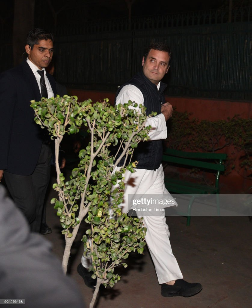 Congress president Rahul Gandhi arrives to address press conference on the allegations of irregularities within the Supreme Court at AICC on January 12, 2018 in New Delhi, India. Congress president Rahul Gandhi said that allegations of irregularities within the Supreme Court made by four senior judges at a press conference earlier in the day were important to address. Four senior Supreme Court judges Justice Jasti Chelameswar, Justice Ranjan Gogoi, Justice Madan Lokur and Justice Kurian Joseph earlier today addressed a press conference to express their grievances against the Chief Justice of India (CJI) Dipak Misra and how he was assigning cases.