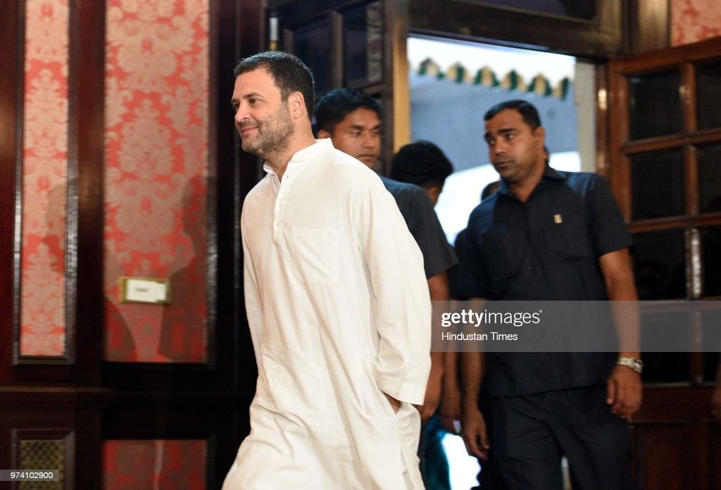 Congress President Rahul Gandhi arrives to interact with media at MCA, Bandra Kurla Complex, Bandra (E), on June 13, 2018 in Mumbai, India. Gandhi said that the Modi government is only working for rich businessmen, and the extra money collected from fuel hike is being used to give bailout packages to them.