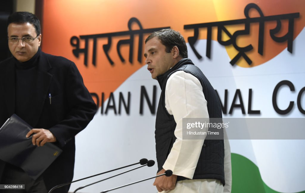 Congress president Rahul Gandhi at press conference on the allegations of irregularities within the Supreme Court at AICC on January 12, 2018 in New Delhi, India. Congress president Rahul Gandhi said that allegations of irregularities within the Supreme Court made by four senior judges at a press conference earlier in the day were important to address. Four senior Supreme Court judges Justice Jasti Chelameswar, Justice Ranjan Gogoi, Justice Madan Lokur and Justice Kurian Joseph earlier today addressed a press conference to express their grievances against the Chief Justice of India (CJI) Dipak Misra and how he was assigning cases.