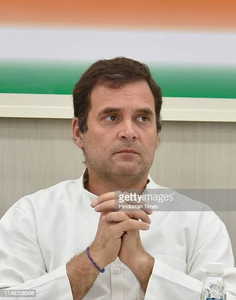 Congress President Rahul Gandhi during a Congress Working Committee meeting at AICC headquarters on May 25 2019 in New Delhi India The Congresss...