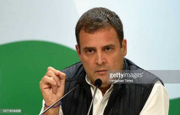Congress President Rahul Gandhi during a press conference after the party's win in the Assembly Elections of Rajasthan Chhattisgarh at the party...
