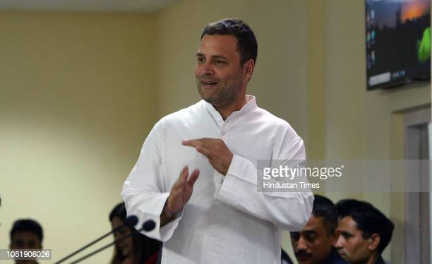 Congress President Rahul Gandhi during a press conference over the Rafale deal at AICC headquarters on October 11 2018 in New Delhi India