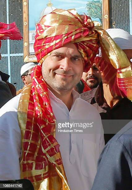 Congress President Rahul Gandhi during his visit to Ajmer Sharif Dargah on November 26 2018 in Ajmer India