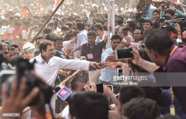Congress president Rahul Gandhi greets people during 'Kisan Samriddhi Sankalp' rally in Pipliya Mandi at Khokhra on June 6 2018 in Mandsaur India...
