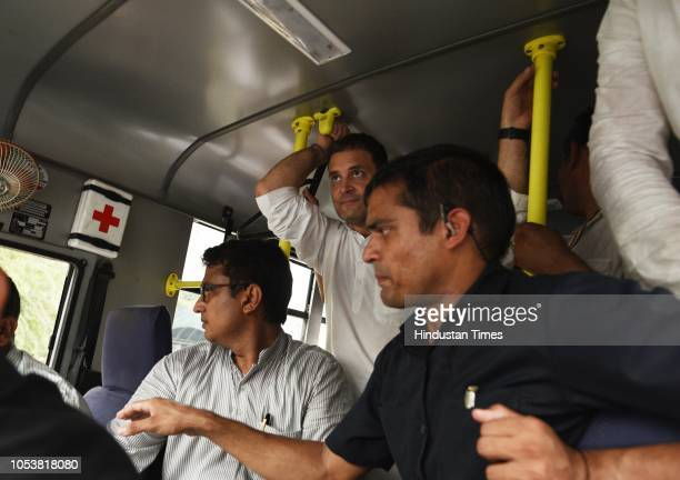 Congress president Rahul Gandhi in the police van as he was detained during the protest march at the CBI Headquarter demanding the reinstatement of...