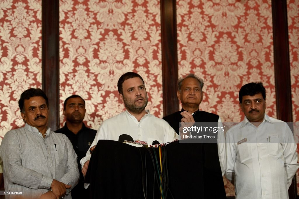 Congress President Rahul Gandhi interacts with media at MCA, Bandra Kurla Complex, Bandra (E), on June 13, 2018 in Mumbai, India. Gandhi said that the Modi government is only working for rich businessmen, and the extra money collected from fuel hike is being used to give bailout packages to them.