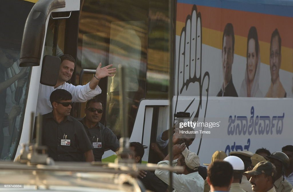 Congress President Rahul Gandhi Holds A Road Show In Bijapur