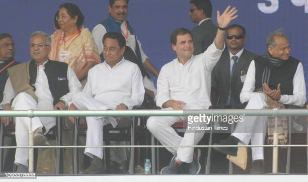 Congress President Rahul Gandhi Madhya Pradesh Chief Minister Kamal Nath Singh Rajasthan Chief Minister Ashok Gehlot during the 'Jan Akanksha Rally'...