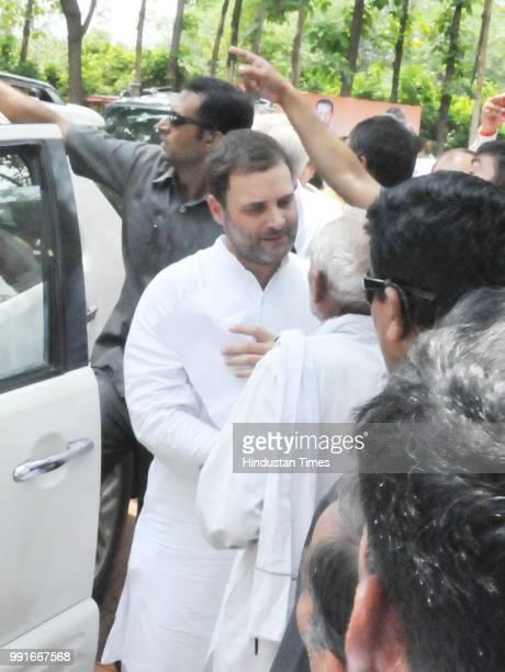 Congress President Rahul Gandhi meets party workers at Fursatganj on July 4 2018 in Amethi India