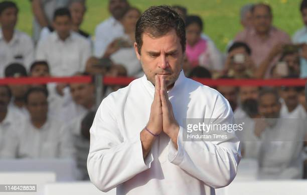 Congress President Rahul Gandhi pays tribute to India's first Prime Minister Jawaharlal Nehru on his 55th death anniversary, at his memorial Shanti...