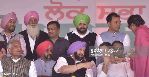 Congress President Rahul Gandhi Punjab chief minister Amarinder Singh and other senior Congress leaders during the Lok Sabha election rally on March...