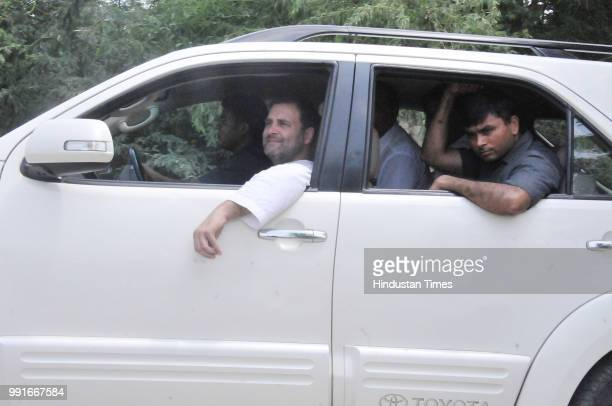 Congress President Rahul Gandhi returns back after meeting with Abdul Sattars family the farmer who died in May at Fursatganj on July 4 2018 in...