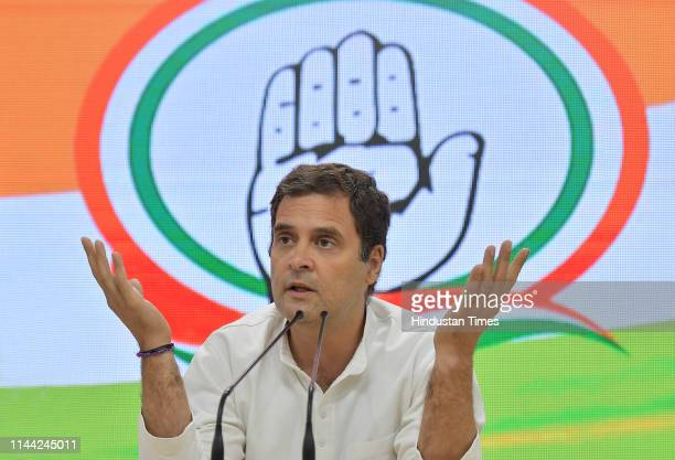 Congress President Rahul Gandhi speaks at a press conference at All India Congress committee headquarters on May 17 2019 in New Delhi India Congress...