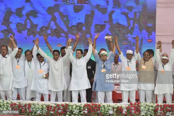 Congress president Rahul Gandhi with Arun Yadav Shobha Oza Ajay Singh Deepak Bbaria Kamal Nath Jyotiraditya Scindia Digvijaya Singh Kantilal Bhuria...