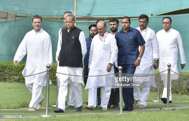 Congress President Rahul Gandhi with former Chief Minister of Rajasthan Ashok Gehlot participates in 'Bharat Bandh' protest against fuel price hike...