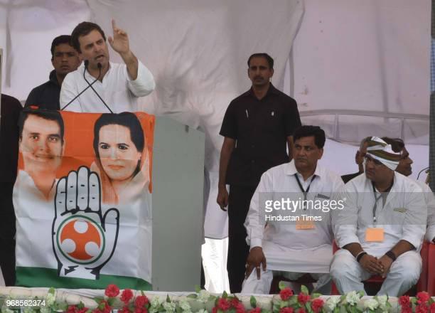 Congress president Rahul Gandhi with Former president of the Madhya Pradesh Congress Committee Arun Yadav and other leaders during 'Kisan Samriddhi...