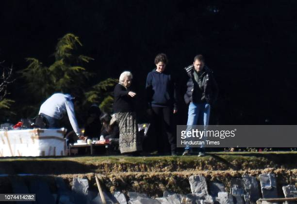 Congress president Rahul Gandhi with his sister Priyanka Gandhi Vadra and senior Congress leader Vidya stokes are seen at Charabra on December 19,...