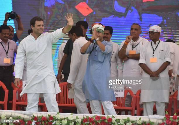 Congress President Rahul Gandhi with Senior Congress leader Jyotiraditya Scindia Digvijaya Singh and other leaders during 'Kisan Samriddhi Sankalp'...
