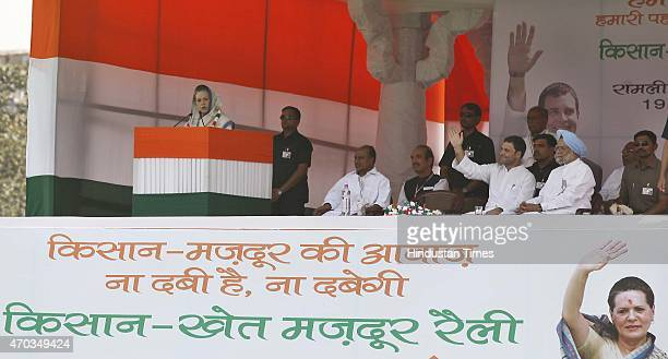 Congress President Sonia Gandhi addresses during the farmers rally to galvanise protests against National Democratic Alliance's land acquisition law...