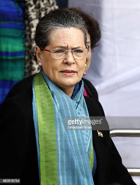 Congress president Sonia Gandhi along with Kiran Walia arrive to cast their vote at polling booth during the Delhi Assembly Elections 2015 on...