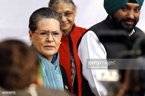 Congress president Sonia Gandhi along with Kiran Walia, Sheila Dixit and Arvinder Singh Lovely arrive to cast their vote at polling booth during the...