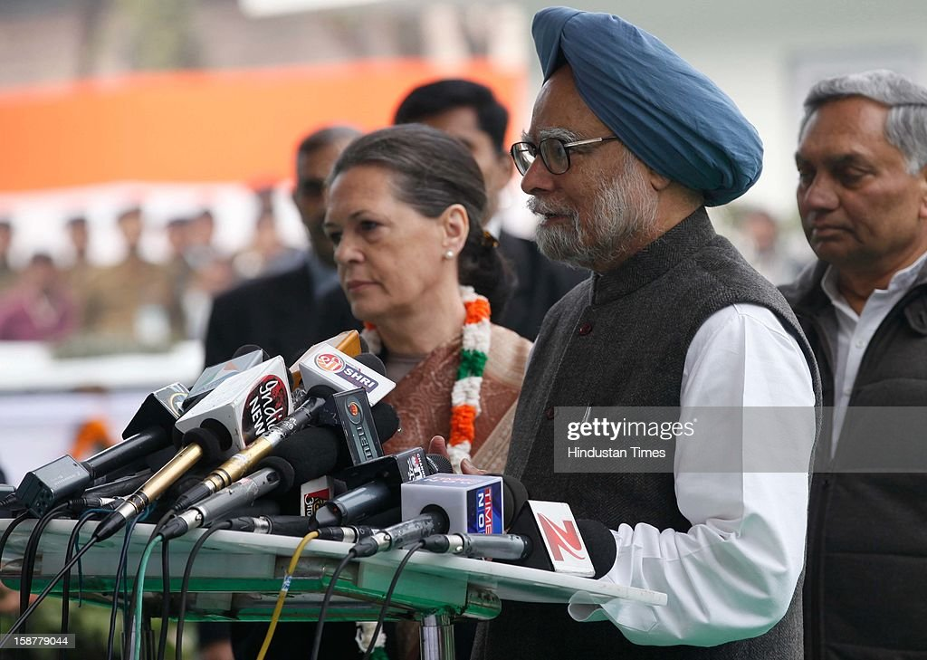 Congress president Sonia Gandhi along with Prime Minister Manmohan Singh speaks to media person, during the Indian National Congress party's 127th foundation day function at AICC headquarters on December 28, 2012 in New Delhi, India.