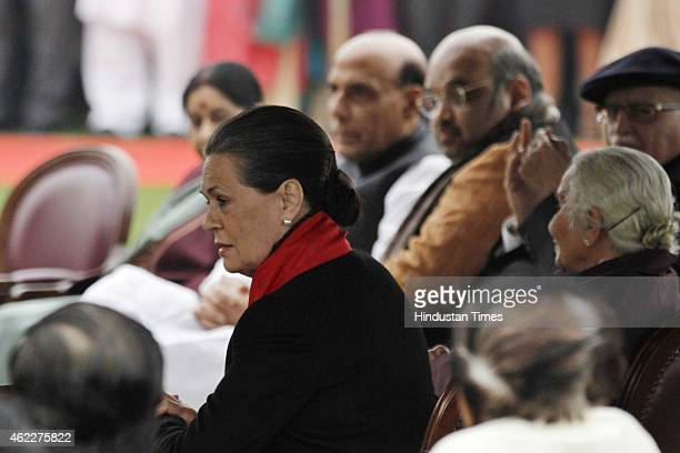 Congress President Sonia Gandhi and BJP leaders during the 'At Home' Reception hosted by President Pranab Mukherjee on Republic Day at the...