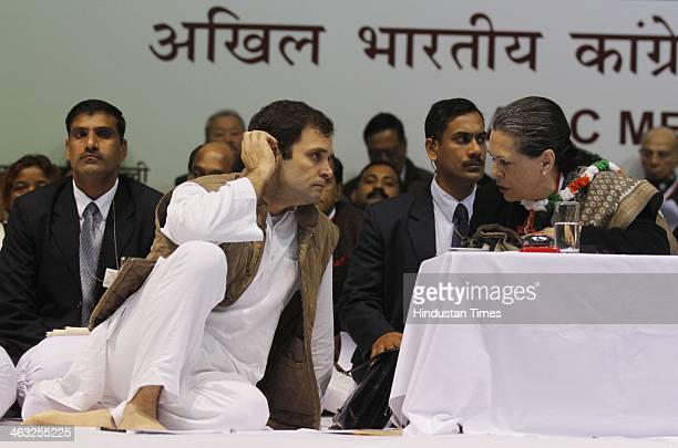 Congress President Sonia Gandhi and Congress VicePresident Rahul Gandhi during All India Congress Committee meet at Talkatora stadium on January 17...