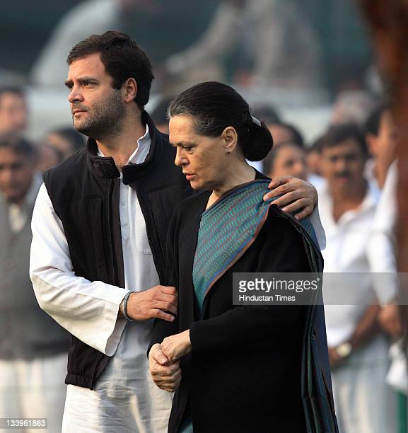 Congress President Sonia Gandhi and her son Rahul Gandhi after paying tributes to Indira Gandhi on her 94th birth anniversary at her memorial Shakti...