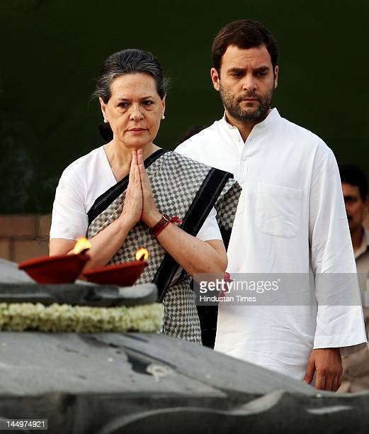 Congress President Sonia Gandhi and her son Rahul Gandhi pay tribute to her husband and Late Prime Minister Rajiv Gandhi on his 21st death...